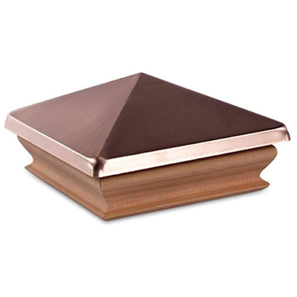 Woodway Pyramid Top Post Cap – Redwood Copper Outdoor Fence Cap for Garden, Deck and Patio 4 x 4, Pack of 12