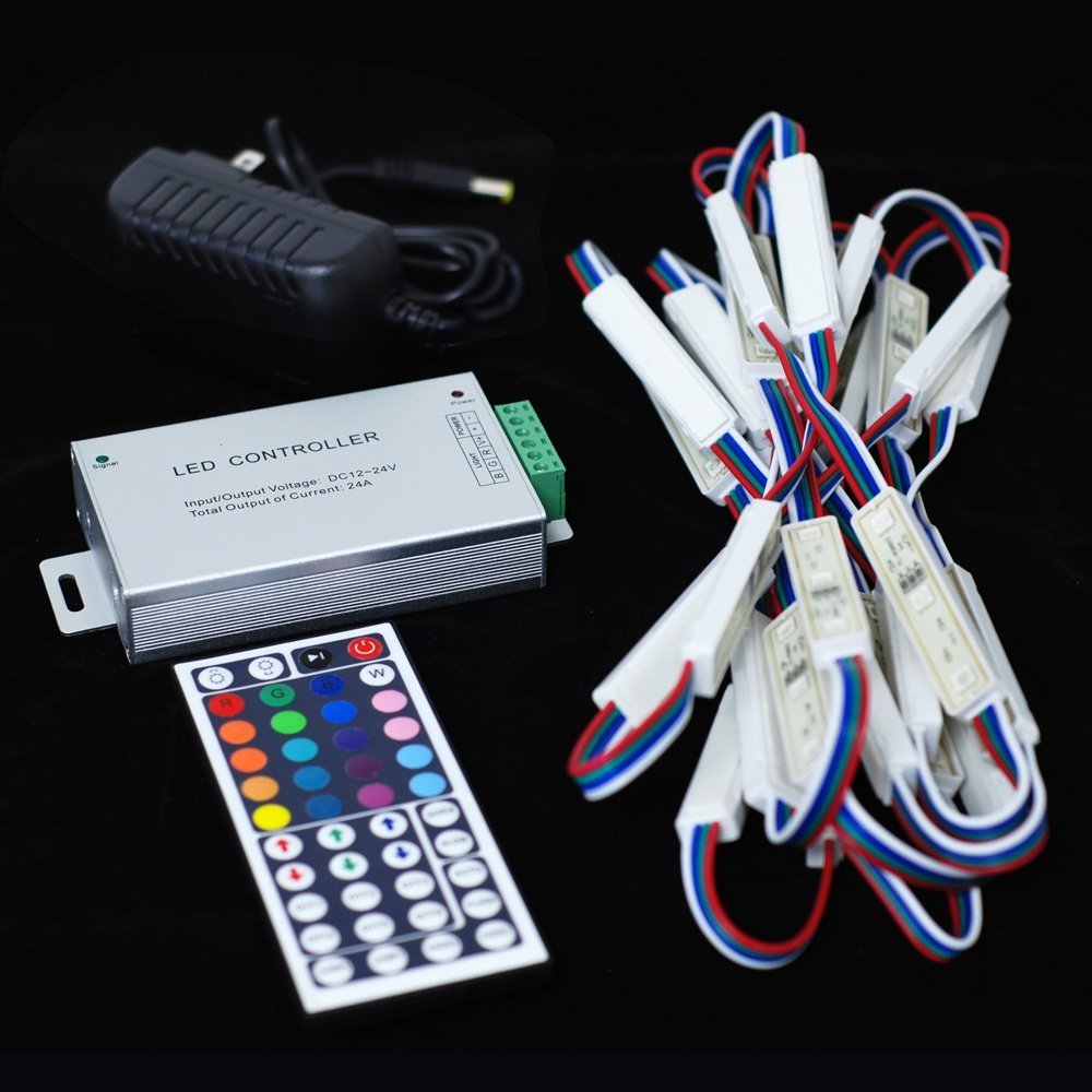 GALAXY LED IP67 Waterproof Dustproof String Light Package w/Power Supplies and 44-Key RGB Controller/3-Chip Modules/End Connectors - for Windows/Displays/Storage/Curved Edges (RGB (All Colors), 25 modules/12 ft)