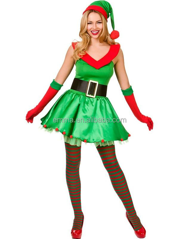 ADULT FEMALE ELF OUTFIT Father Christmas Suit Fancy Dress Ladies Xmas Costume