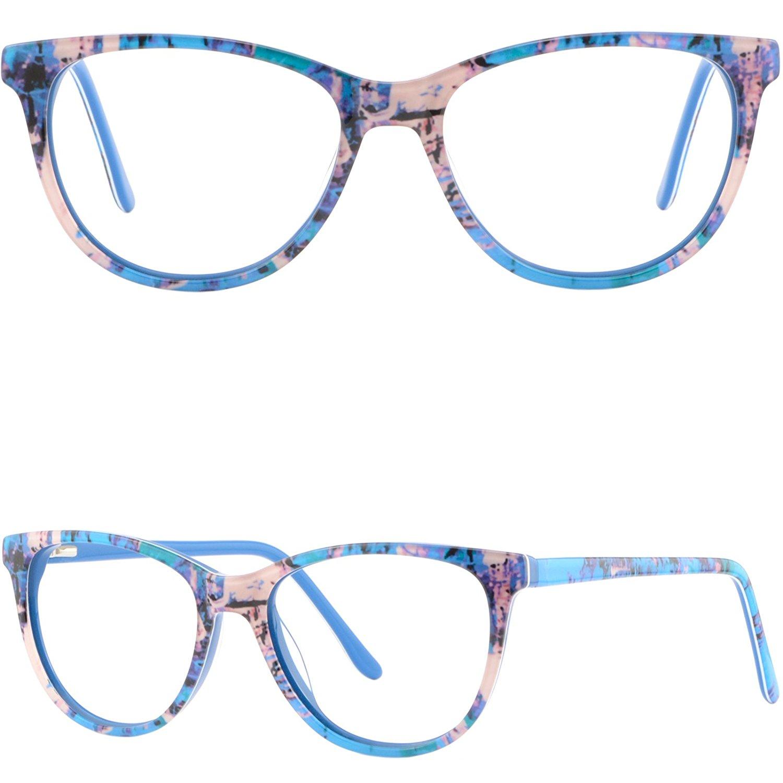 1559e54b98e8 Get Quotations · Womens Mens Acetate Frames Spring Hinges Prescription  Glasses RX Eyeglasses Blue