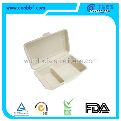 Biodegradable wheat straw food packing box for lunch