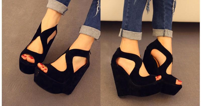 2015 FASHION Wedge High Heel Women Sandals Black Shoes Summer Fretwork Platform Sandal Gladiator Sandals Women sandalias LD53 (26)