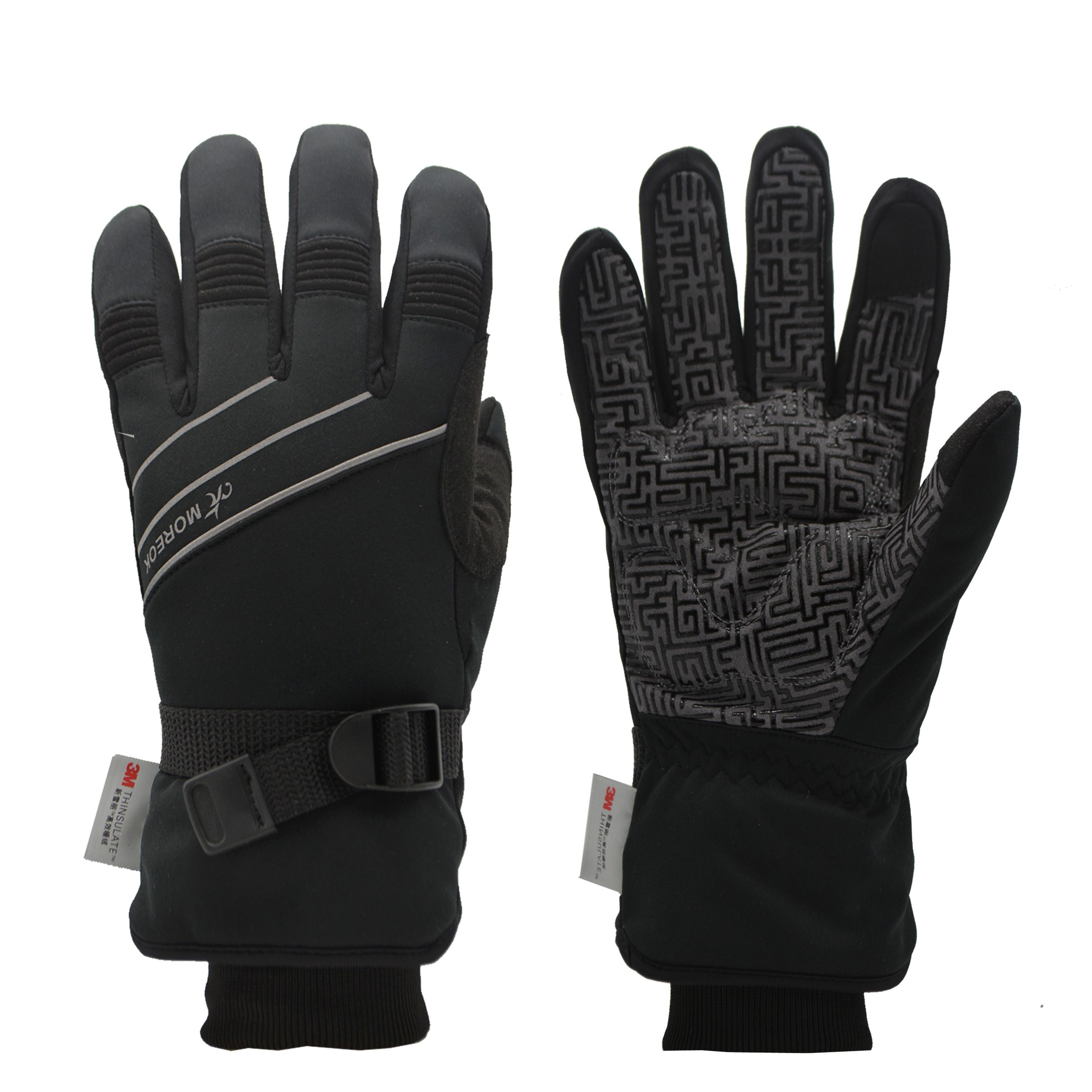 MOREOK 3M thinsulate Insulation Winter Ski Thermal Bicycle Racing MTB Bike Reflective Touch Screen Cycling Gloves Outdoor Sports, Black