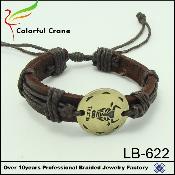 wide zodiac charms leather vintage fashion bracelet for women and men