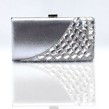 luxury silver crystal stones evening clutch wallet and purse clutch party bag