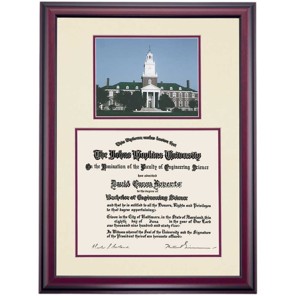Buy Johns Hopkins Blue Jays Diploma Frame Ivory Maroon Matting ...