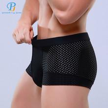 Breathable Mesh Silk Men's Boxer Briefs Four Corner Underwear Wholesale New 2015 Underwear Men Cotton  Mens Bodysuit Underwear