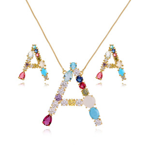 wholesale stock jewelry colorful rhinestone letter necklace earrings set