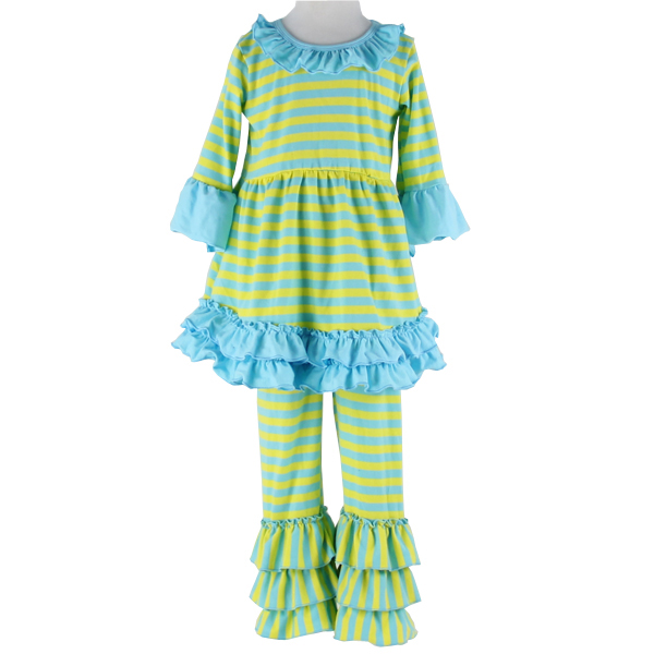 Baby Fall Importing wholesale price with leggings 2 pieces ruffle stripe outfits