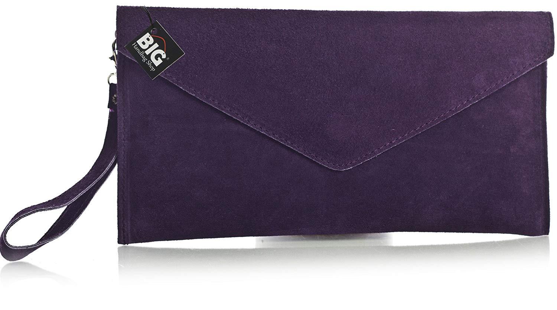 2025326a9e Big Handbag Shop Womens Real Italian Suede Leather Envelope Evening Clutch  Party Wedding Bag z