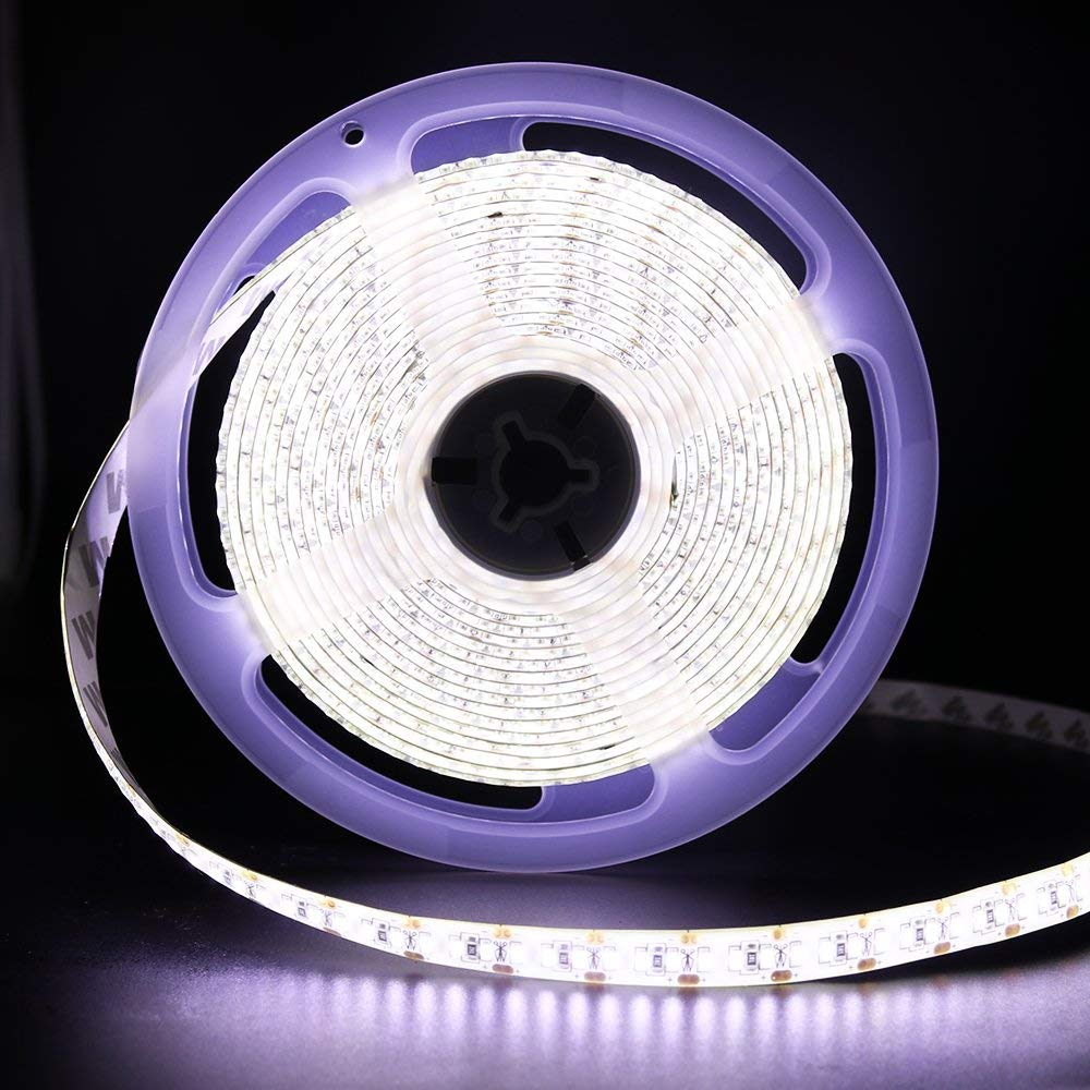 XUNATA 16.4ft LED Strip Lights 1020 LEDs, SMD3014 Non-Waterproof Flexivle LED Tape Light with DC12V 5A Power Supply, Cool White 6500K