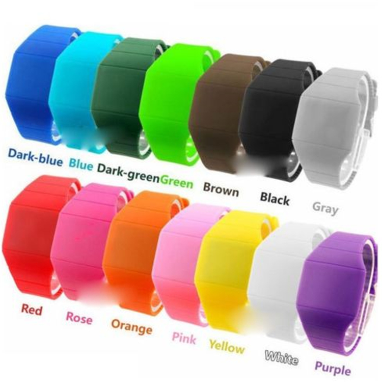 custom print kids cheap digital silicone blinking LED jelly watches