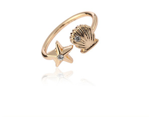 Best Selling Sea Ring Starfish Shell Open Ring for Gift