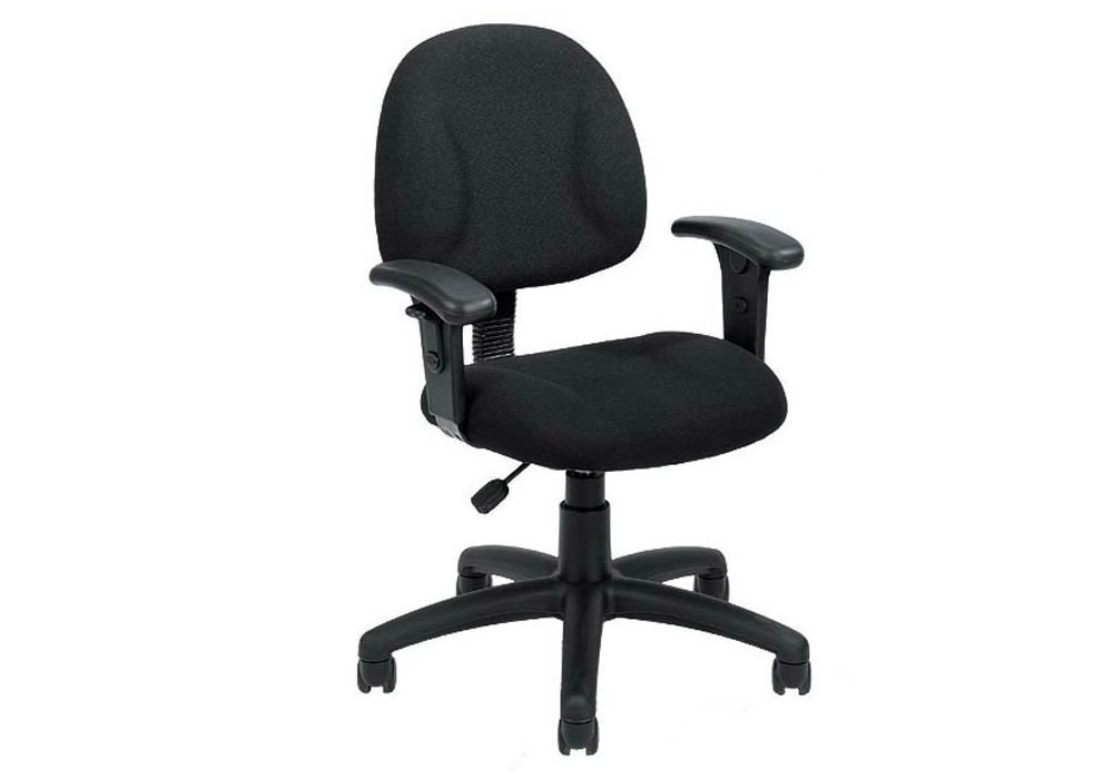 """Task Chair with Adjustable Arms Dimensions: 24""""W x 21""""D x 31-37""""H Seat Dimensions: 18""""Wx16""""Dx18.5-23""""H Weight: 31 lbs. Black Fabric/Black Frame"""