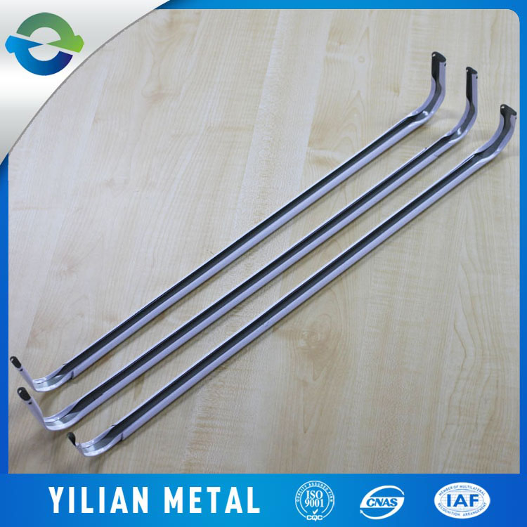 White powder coated metal double wooden stage curtain rod