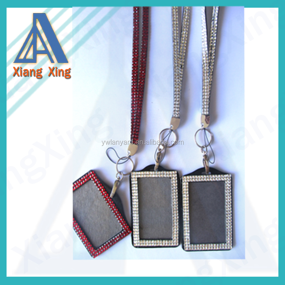 Bulk wholesale lot wholesale rhinestone crystal lanyard cell phone string with vertical/horizontal ID badge holder