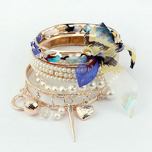 2013 fashion bracelet indian bangles gold plated with imitation pearl different shaped pendant bracelet PB1752
