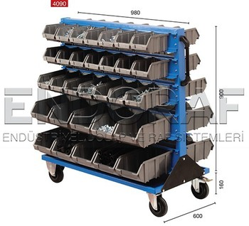 Two Sided Linbin Rack With Wheels Mobile Storage Bin System 4090