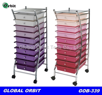10 Drawer Make Up Kids Toys Home Office Salon Storage Trolley Multi Colour  New