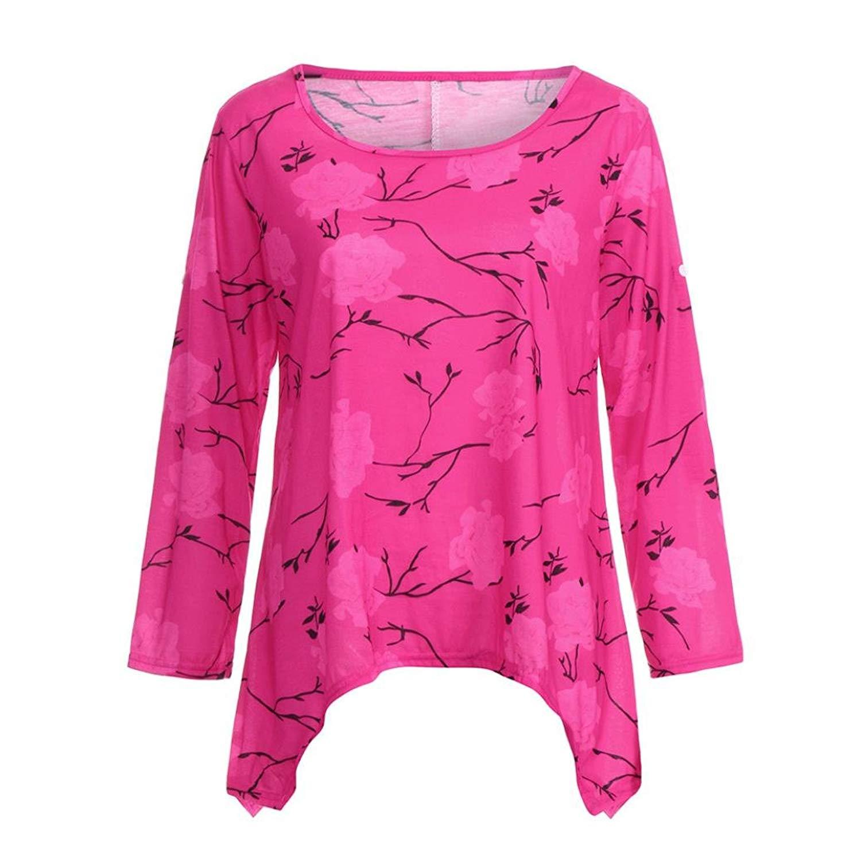 Kinrui women blouse and t-shirt Women's Loose Floral Print Long Sleeve Top Round Collar Regular Blouse