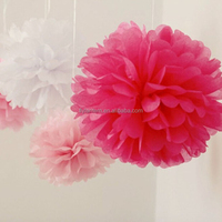 European 12'' DIY colored tissue paper pom poms flower balls party supplies wedding valentines day gifts decoration
