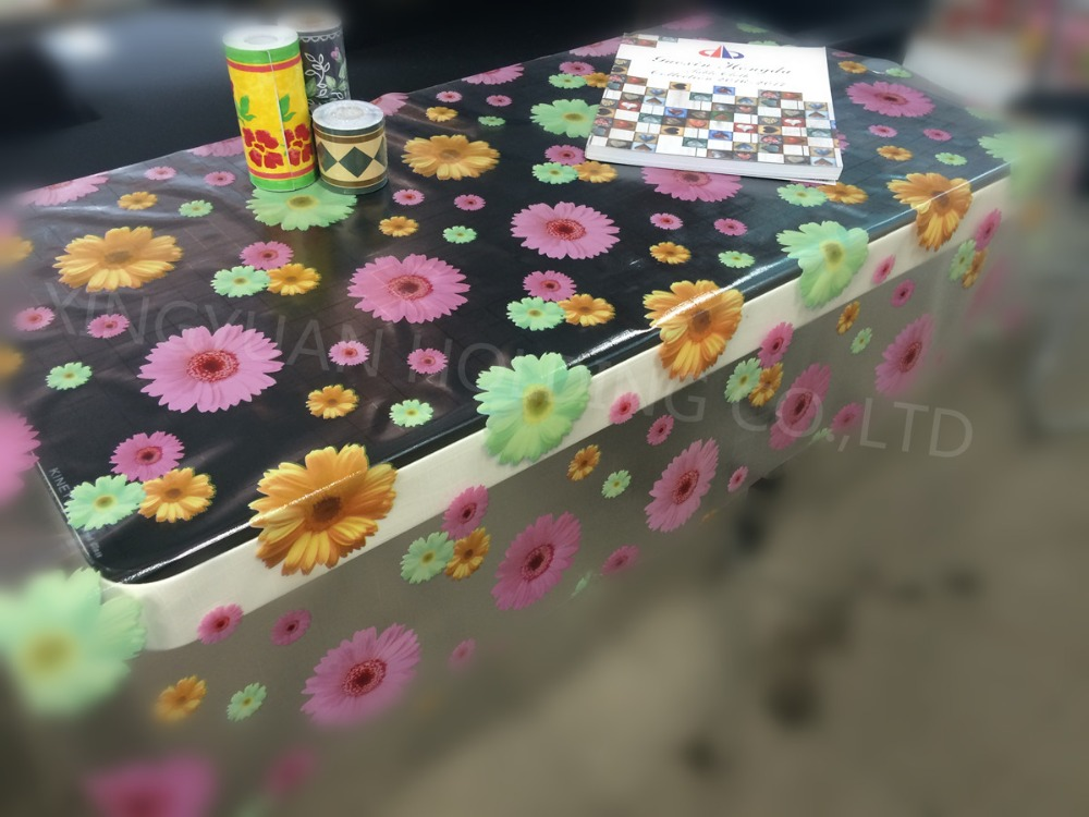 Cheap clear printed pvc plastic table cloth transparent printed table cover