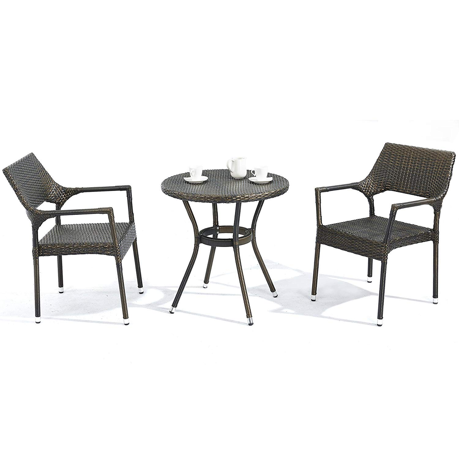 88ef354ee44f2 Get Quotations · D+ Garden 3-Piece Bistro Table Set for Patio Balcony and  Pub, Resin Wicker