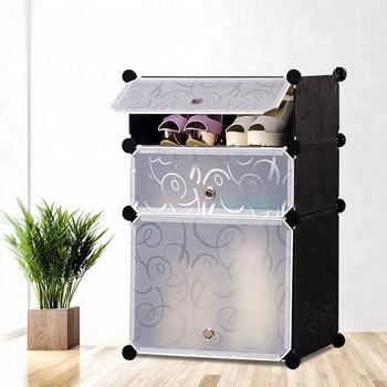 Multi Use Diy Plastic 3 Cube Shoe Rackshoes Cabinet Blue With White