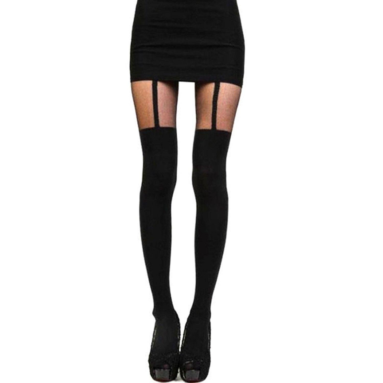 b1d00e5b348 Get Quotations · ACTLATI Fashion Women Girl Women Vintage Tights Temptation  Sheer Mock Suspender Tights Matching High Elastic Stocking