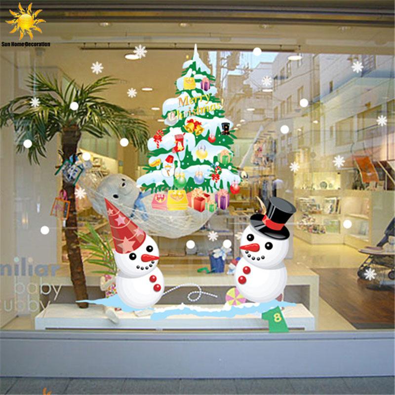 Shop Decorations For Christmas: The New Shop Window Snowman Christmas Tree Christmas Wall