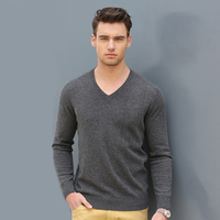 New winter men's cashmere sweater V neck knit shirt warm long sleeved sweater