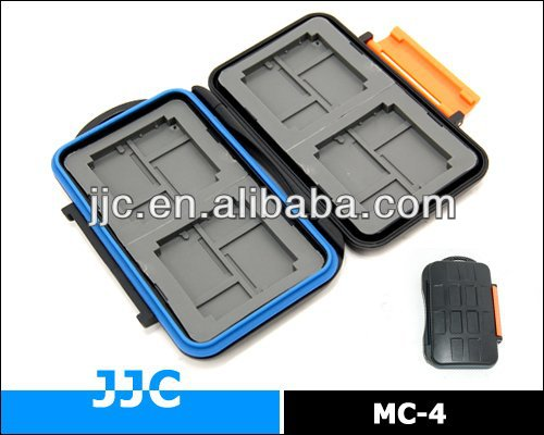 JJC Tough Structure Rubber Sealed Water Proof Memory Card Case Protector MC-4 for 4x CF, 8x Micro SD, 8x XD