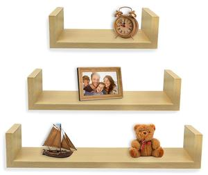 Torched Wood Floating U Shelves