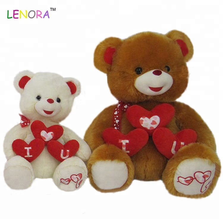 Promotion Wholesale 2019 Most Popular Custom OEM High Quality Animal Soft Plush Teddy Bear With Heart  Valentine's Day Gift Toy