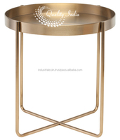 Golden Side End Side Tables With Glass Top