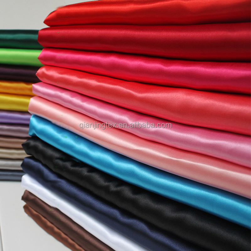 Newly arrival high quality soft satin woven stretch dress fabric