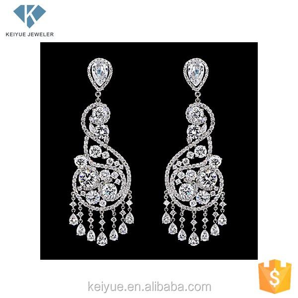 Large Silver Indian Earrings Costume Cz Jewellery Designs For Women Chandelier