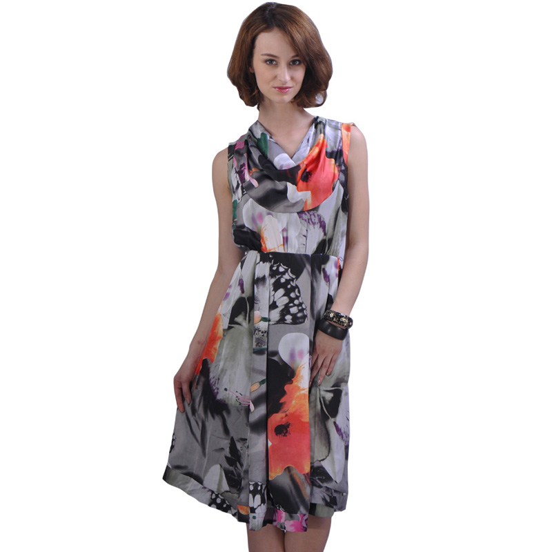 2018 Spring New Design Drop Neck Sleeveless Floral Print Beautiful Girl Dress