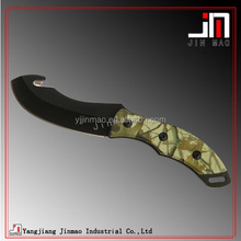 High Quality Swiss Black Plain Edge Camo Hunting Knife
