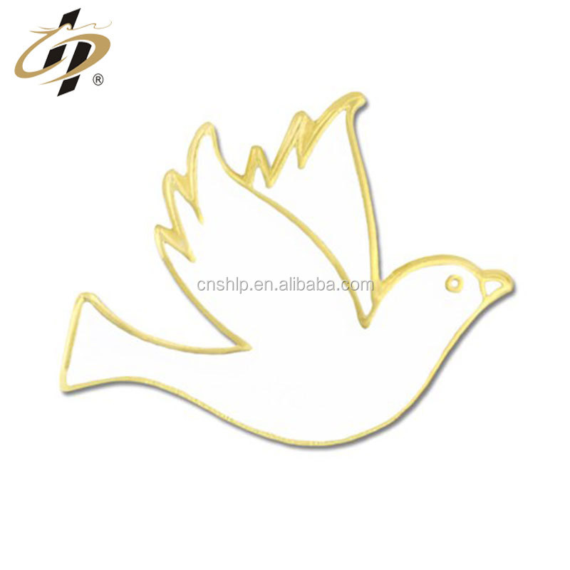 New design custom metal enamel Dove bird Lapel Pins in gold plate