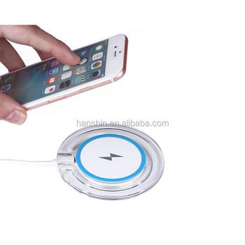 Wholesale Crystal Circle with LED Light Qi Wirless Charger For Mobile Phone