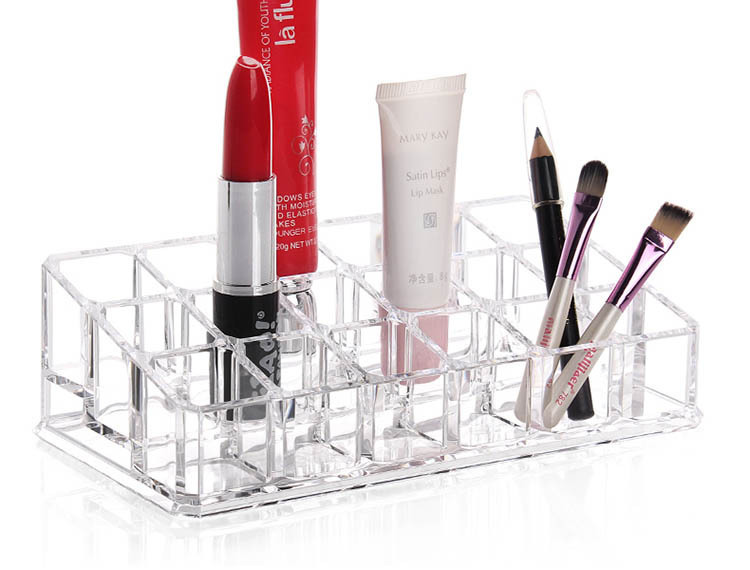 24 Cases Clear Acrylic Organizer 2015 New Promotion Makeup Cosmetic Mac Lipstick Jewelry Display Stand Holder Nail Polish Rack