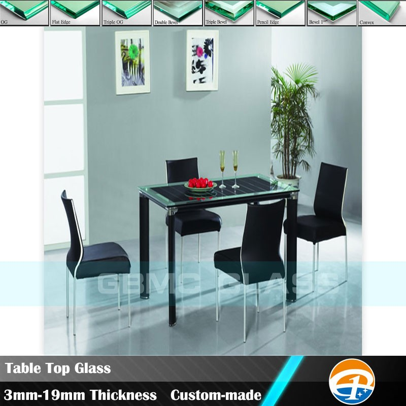 "China Table Top Glass Manufacturer Thickness 3/16"" 1/4"" 3/8"" 1/2"""