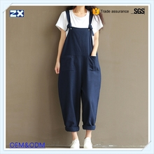 linen trousers New design trousers braces lady trousers with high quality