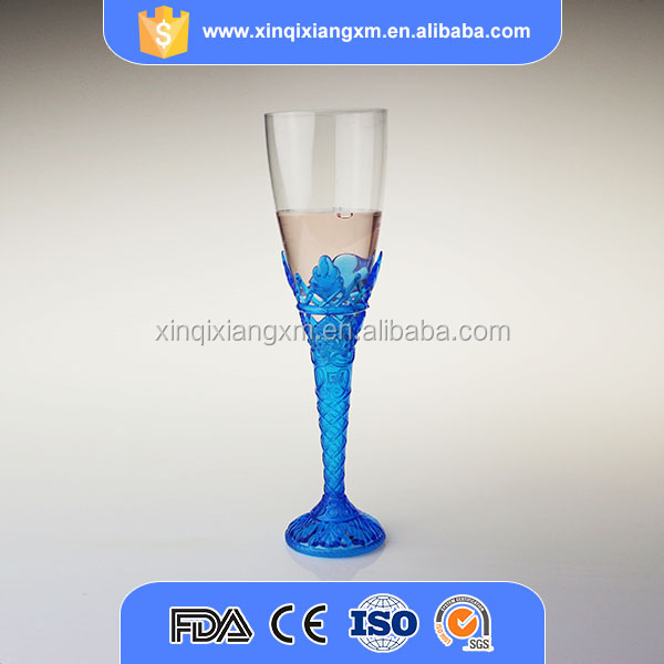 Goblet style party cheap disposable champagne flutes plastic