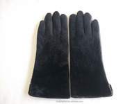 Wholesale Lady Middle Long Leather Glove with Fake Horse Fur Hand Back
