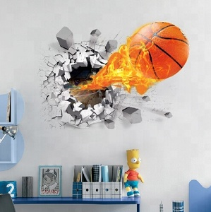 Hot Sale Flaming Flying Basketball Wandsticker 3D Effect Home Decal Sticker Removable PVC Wall Sticker