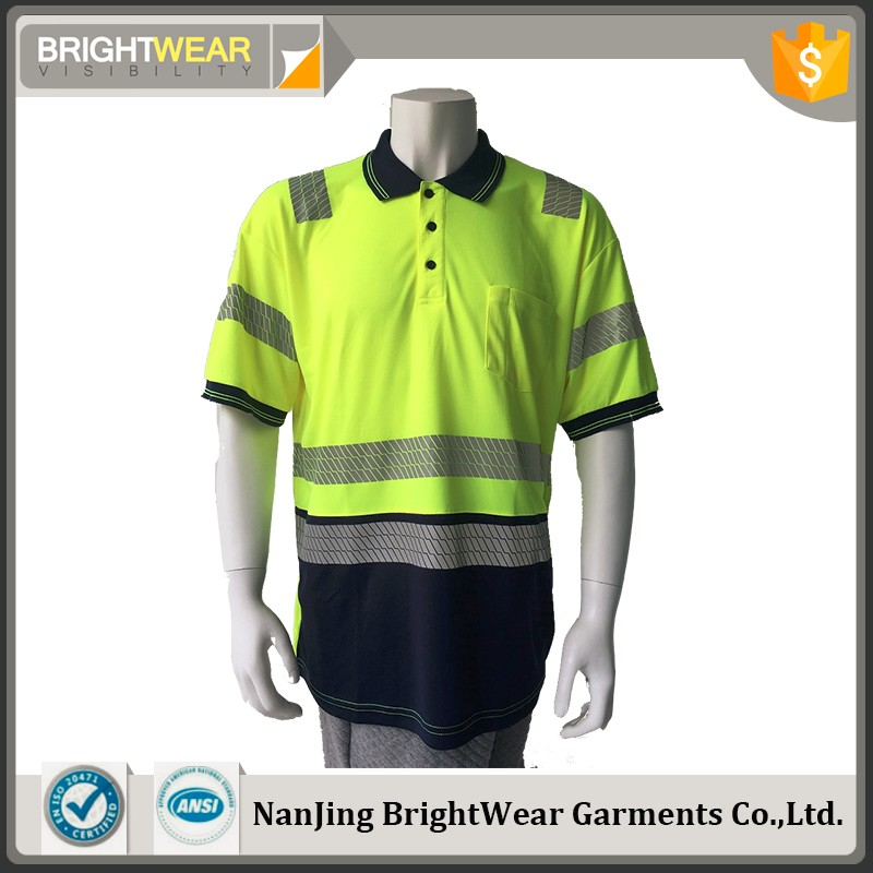 100%polyester birdeye fabric Hi Viz reflective safety polo shirt