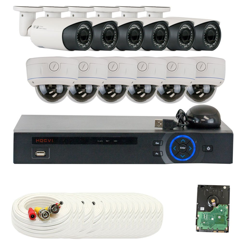 """Professional 16 Channel HD-CVI DVR Security Camera System with 12 x 1/2.8"""" 2.0 Mega pixels HDCVI SONY CMOS CCTV Security Camera, 2.8~12mm Manual Varifocal Lens. One is 42PCS Infrared LED, 98 feet IR distance and one is 30PCS Infrared LED, 65 feet IR distance. 1080p real time preview, 720P realtime"""