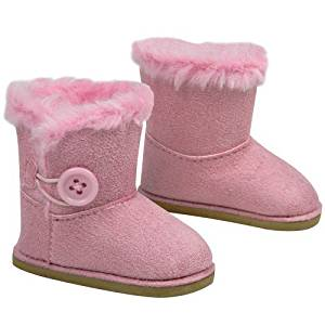 """Stylish 18 Inch Doll Boots. Fits 18"""" American Girl Dolls & More! Doll Shoes of Pink Suede Style Boots W/ Pink Side Button & Pink Fur"""